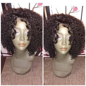 "8"" jherri curly human blend hair wig"